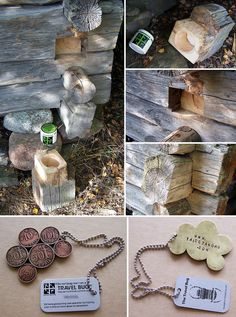 "From the website: My twin brother has been very into geocaching in lately ... i desided to help him for designing and making first own geocache and with more ambitious style. Final outcome was this quite cunning hideout in one of our old hay barns. We put there also one special ""travel bug"" what i soldered together from brass plate and old Finnish coins."