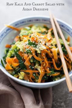 Raw Asian Inspired Kale Salad https://www.facebook.com/pages/Healthy-Vibrant-You/381747648567846