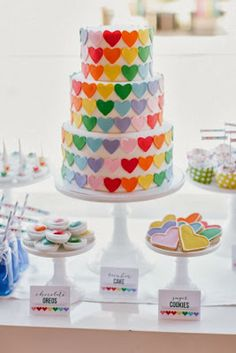 Darling rainbow heart cake via Inspired Sugar!