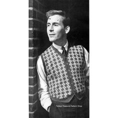 Mens Harlequin Knit Vest Pattern No 1248 | Todays Treasure Pattern Shop