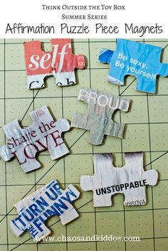 Puzzle Piece Magnets with mod podge and magazine words