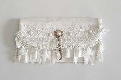 White cotton and lace bridal purse , Bridal clutch , Bridesmaid clutch , Clutch purses , Wedding clutch , Wedding purse , Bridal money bag