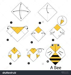 By Step Instructions How To Make Origami Bee. Stock vektorkép 323749997 : ShutterstockStep By Step Instructions How To Make Origami Bee. Origami Design, Diy Origami, Origami Star Box, How To Make Origami, Origami Stars, Origami Paper, Origami Folding, Oragami, Origami Balloon