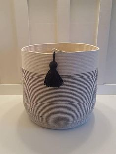 XXL Black and White Rope Basket with Tassel