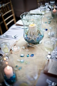 beach theme table decorations | Beach Themed Wedding Table Decorations - Decorating Of Party