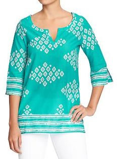 Womens Printed Tunics - This would be great for this season paired with some sandals and linen pants.