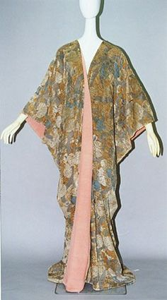 Mariano Fortuny Kimono Coat 1910s Light brown velvet with polychrome stencil print of Japanese traditional pattern; salmon-pink silk faille lining; straight-cut structure: