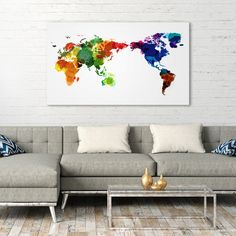 Unique World Map Wall Art Canvas Print World Map Canvas, World Map Wall Art, Map Art, Big Canvas Art, Canvas Artwork, Canvas Prints, Art Prints, Living Room Goals, Living Room Decor