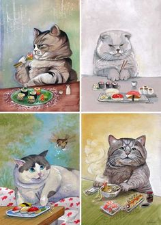 cats eating sushi...classic