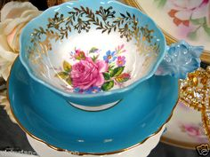 Paragon Flower Handle Tea Cup and Saucer Painted Roses | eBay