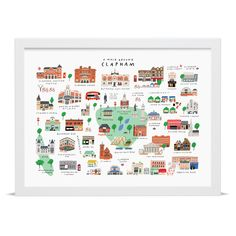 This beautiful hand-illustrated map by Mercedes Leon depicts a wide variety of landmarks found in and around Clapham, South London. This unique and quirky illustration is more or less geographically accurate, and features over 30 of the area's best loved shops, buildings and open spaces.