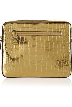 MARC JACOBS  Cosmic croc-effect metallic leather iPad case