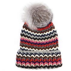 Eugenia Kim Rain Multi Stripe Chunky Wool Beanie Hat with Fox Fur Pompom