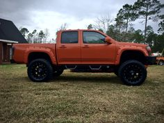 "Follow My Truck Page On Instagram ( Inferno_Beast )  2004 - 2012 GMC Canyon / Chevy Colorado  35x12.50R20 Gladiator QR900 All Terrain Tires  20x10 645B Dropstars with -19 Offset ( 4 inch lip )  PSI Pocket Style Fender Flares   Inferno Orange Paint Job  Tactical Armor Group Steel Bedlined Bumpers  Magnum RT Steps Made For A 4 Door Jeep Wrangler   4"" Inch Tuff Country 14045KN Suspension Lift Kit  3"" Inch Performance Accessories Body Lift Kit   2"" Inch Torsion Key Crank ( Suspension Maxx ) Keys"