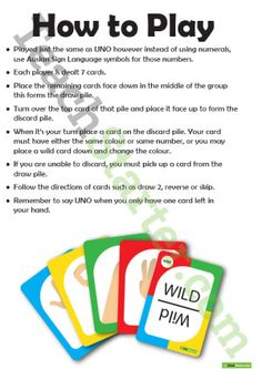Teaching Resource: A card game using Auslan Sign Language. Sign Language Games, Language Study, Language Lessons, Australian Sign Language, British Sign Language, Learn English Speaking, Teaching English, Uno Cards, Classroom Games