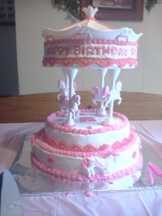 Birthday Cake Photos - Carousel cake for my two year old   Grand-niece! She enjoyed eating the horses!