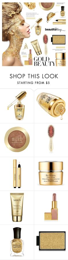 """Golden Girls: Gold Beauty"" by sans-moderation ❤ liked on Polyvore featuring beauty, Valery Joseph, Yves Saint Laurent, Estée Lauder, Skin79, Deborah Lippmann, Buxom, Amica, Urban Decay and polyvoreeditorial"