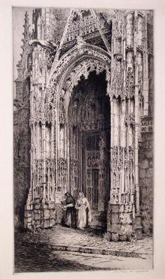ANDREW F. AFFLECK. (1874-c.1935)  [Gothic Church Doorway]. ca. 1920
