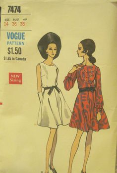 Beautiful Vintage Vogue dress pattern 7474, late 1960s (please let me know if you can help date!).  $8.00, via Etsy.