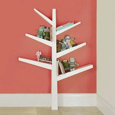 12 Functional and Cool Bookshelves For Kids: This cheerful Babyletto spruce tree bookcase ($199) adds a bit of whimsy to any tot's room. Holding 12 to 15 books per branch, this bookshelf is seriously functional. Crafted from poplar hardwood and finished with low-VOC lacquers, the bookshelf attaches securely to any wall in your child's room.