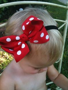 Big Fat Minnie Bow - one for E and one for A - not on a headband :) -if only I had a custom bow maker to do this job for me... Oh wait, I do!!!