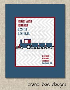 Personalized Train Printable Nursery/Child's by brenabeedesigns, $7.50
