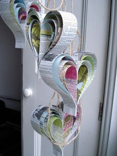 repurposed book - paper hearts
