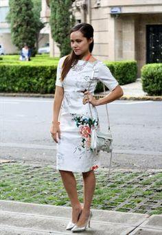 Summer Dress White Short Sleeve Floral Butterfly Print Dress