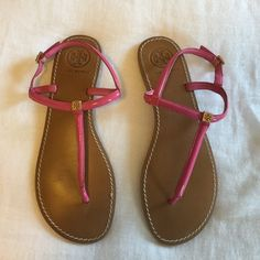 Tory Burch Sandals Hot pink and gold. Excellent condition!! Tory Burch Shoes Sandals