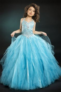 Discount little girl dresses,Affordable Ball Gown Strap Floor-length Little Girl Dress Style 1347
