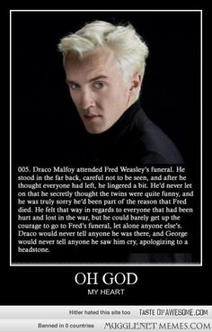 :( one of the most beautiful Harry potter things I've seen. Draco secretly attending Fred's funeral.