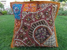 cushion cover standard pillow case bead zari sequin patch handmade HB85 #Handmade