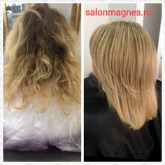 Before and after hair coloring )