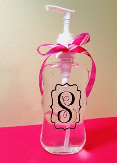 Monogrammed Hand Sanitizer - BACK TO SCHOOL - teacher gift, diaper bag, college dorm, kitchen, car