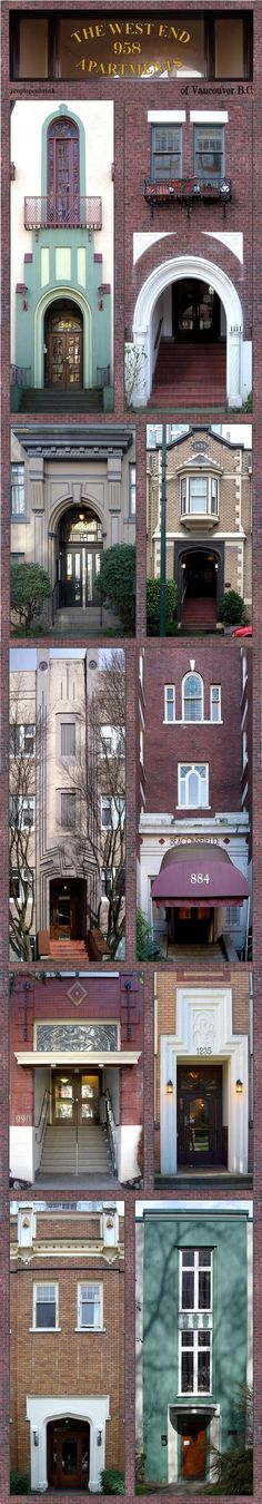 The West End Apartments of Vancouver B.C. photo montage by Jon Piepenbrink. Downtown Vancouver's West End residential neighborhoods still retain the splendor of classic 'low-rise' apartments with elegant Art Deco and Tudor-inspired facades built in the 1930s and 40s.
