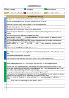 Report Card Comments pdf SlideShare