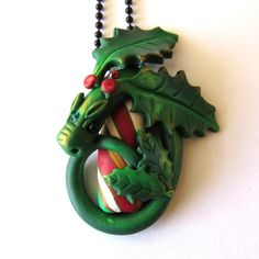Candy Cane Dragon Necklace Fairy Rider Polymer Clay by Claybykim