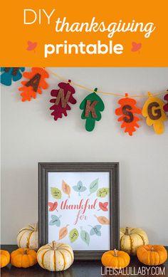 DIY Thanksgiving Printable