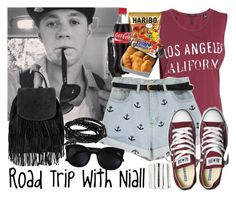 """""""Road Trip With Niall"""" by albamonkey ❤ liked on Polyvore featuring Maison Scotch, Converse, Sole Society, Topshop, NAKAMOL and Karen Walker"""