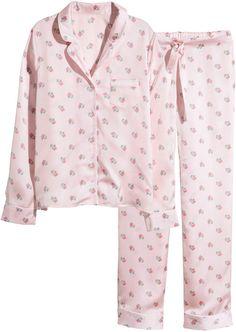 H&M Satin Pajamas - Light pink/floral - Ladies on shopstyle.com