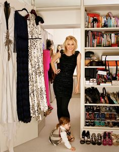 Nadja Swarovski in her fashionable London townhouse, as featured in Harper's Bazaar #celebrity #closet #dressing_room #wardrobe