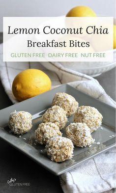 Lemon Coconut Chia Balls - dairy free, gluten free, no bake Nutritious Snacks, Healthy Baking, Healthy Desserts, Healthy Sweet Snacks, Whole Food Recipes, Snack Recipes, Protein Recipes, Potato Recipes, Healthy Recipes