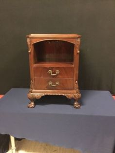 Furniture Antiques 1940's Mahogany Empire Chippendale 2-drawer Nightstand Ns4