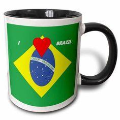 3dRose I Love Brazil, Two Tone Black Mug, 11oz