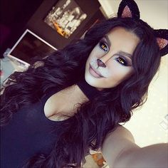 23 cute makeup ideas for Halloween 2018 . - 23 cute makeup ideas for Halloween 2018 - Halloween 2018, Looks Halloween, Visage Halloween, Cat Halloween Makeup, Cat Costume Makeup, Halloween Make Up Cat, Black Hair Halloween Costumes, Halloween Makeup Tutorials, 4 Person Halloween Costumes