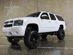 Check out this 2007 Chevrolet Suburban LT LIFTED HEATED SEATS in Summit White from Texas Auto Warehouse in Carrollton, TX It has an automatic transmission. Engine is Call Brady Bishop at today! Lifted Chevy Trucks, Jeep Truck, Diesel Trucks, Trucks For Sale, Pickup Trucks, Chevrolet Suburban, Chevrolet Tahoe, Lifted Chevy Tahoe, Expedition Truck