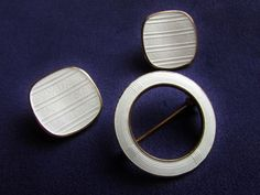 Aksel Holmsen White Guilloche Enamel on Gold Wash Sterling Brooch Earring Set