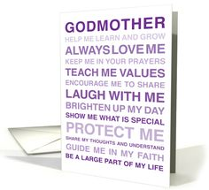 For Godmother - Will you be my Godmother? - From Godchild card
