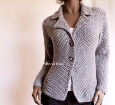 Women's Hand knit Jacket Alpaca Wool sweater Hand Knit