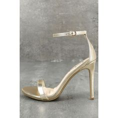 ce41efcdb79 Loveliness Gold Ankle Strap Heels ( 33) ❤ liked on Polyvore featuring shoes